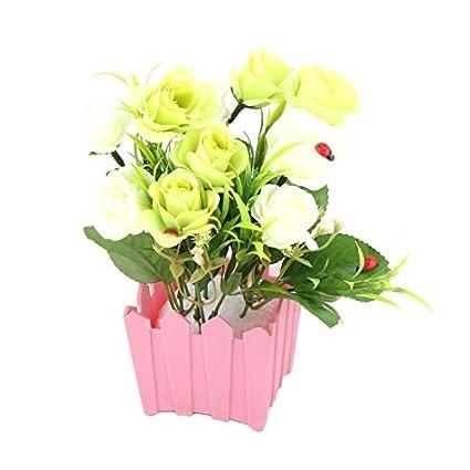 eDealMax Flores artificiales oficina plástico maceta ramo del rosa del ornamento del gabinete de escritorio