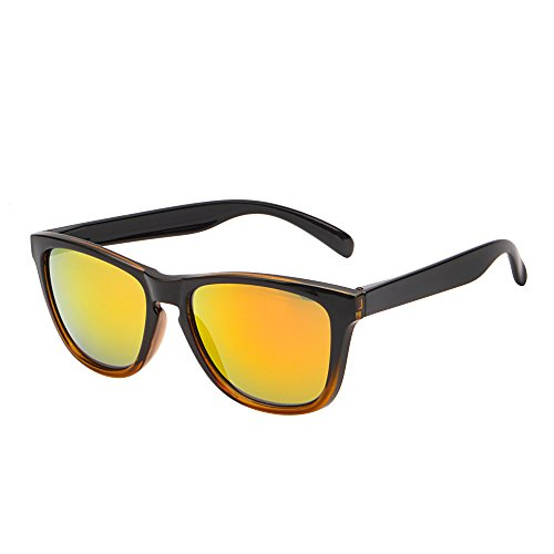 Retro Mirror Sunglasses Men Women Lightweight Reflective Lenses Eyeglasses UV400 (Black & Yellow / Mirror Yellow)