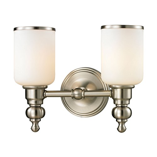 Elk Lighting 11581/2 Bristol Collection 2 Bath Light, Brushed - Collection Bristol Bathroom Vanity