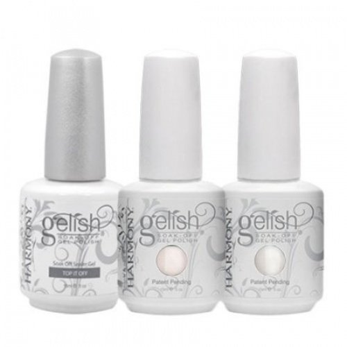 Gelish French Manicure Kit Soak Off Nail Polish Gel Top Coat Color Set ()