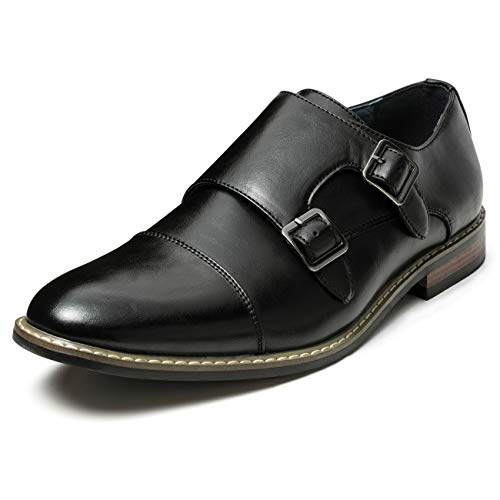 Men's Classic Monk Dress Shoes Leather Lined Formal Oxford (8.5 M US, Black7)