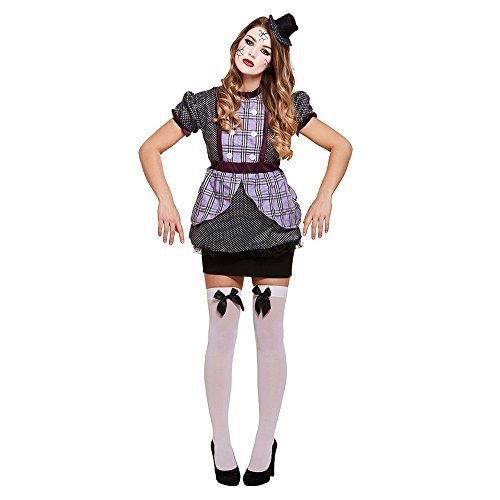 Ladies Broken Doll Puppet Haunted Marionette Halloween Horror Scary Fancy Dress Costume Outfit 8-10-12