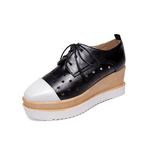 Allhqfashion Dames Vierkante Dichte Neus Kitten Hakken Assorti Kleur Veterschoenen Pumps-schoenen Zwart