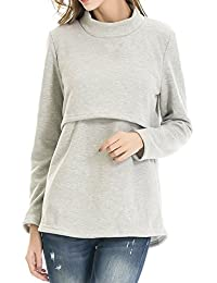 Smallshow Women's Fleece Nursing Tops Shirts Long Sleeve Breastfeeding Clothes