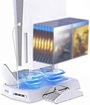 PS5 Vertical Stand with Cooling Fan for PS5 Digital Edition/Ultra HD Console, Samyoung Playstation 5 Accessori