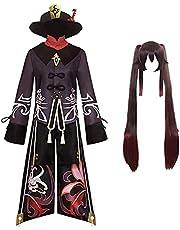 Genshin Impact Cosplay Kostym Hu Tao Cosplay Outfit Peruk Hatt Klänning Kostym Set Dubbel svans Peruk Spel Halloween Party Rollspel Cosplay Kostym Rekvisita för kvinnor