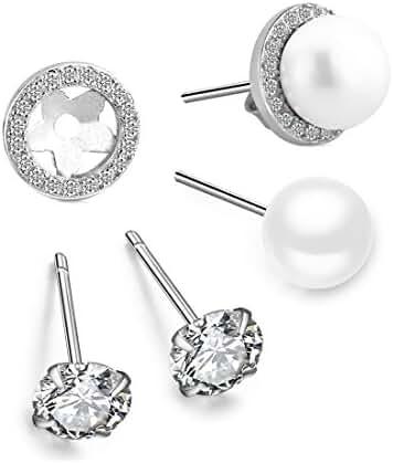 Pearl Earrings Set for Women Girls Sterling Silver Hypoallergenic Pierced Ear Studs with 7.5mm Freshwater Cultured Pearl Zirconia Earring Jackets