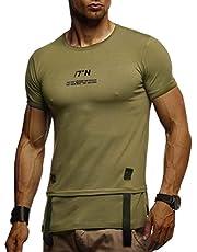 LEIF NELSON Herren Sommer T-Shirt Rundhals-Ausschnitt Slim Fit Baumwolle-Anteil   Moderner Männer T-Shirt Crew Neck Hoodie-Sweatshirt Kurzarm lang   LN1015T
