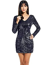 Meaneor Women's Sequin V-Neck Long Sleeve Bodycon Sheath Dress