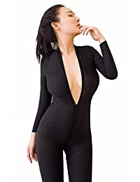 yu chang Crotchless Smooth Body Stocking Bodysuit Sexy Lingerie Long Sleeves