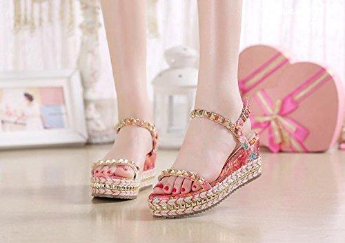 BaiLing Damen Sommer Sandalen/Keil Ferse Handgefertigte Gestrickte Größe Strohplattform/Nietdruck Kleine Größe Gestrickte Weibliche Schuhe, ROT, CN35 - 9653a1