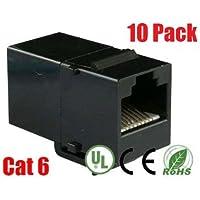 iMBAPrice RJ45 Female to Female UTP CAT.6 Keystone Coupler, Black, 10 Pack (IMBA-C6KC-BK-10PK)