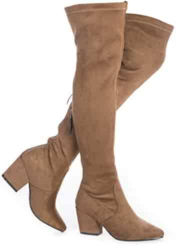 8a9ffe38908 YANWENFANG Women Over The Knee Boots Chunky Heel Zipper Stretch Boots Point Toe  Knee High Boots