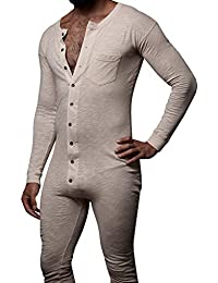 Mens Casual Long Sleeve Button Down Onesie Pajamas Solid Rompers with Pocket