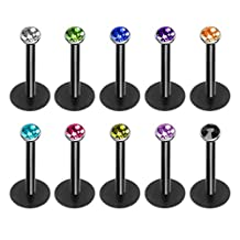 DRKK 10Pcs Colorful 16G Acrylic 2mm Crystal Lip StuDRKK Set Sparkly Push In Labret Monroe Tragus Cartilage Body Piercing Jewelry