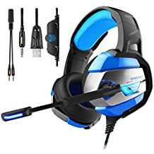 Gaming Headset for PS4 Xbox One Bass Over-Ear Headphones. LED Lights & Noise-canceling Microphone Noise Isolation Features for Laptop Mac Nintendo Switch Games Smartphones