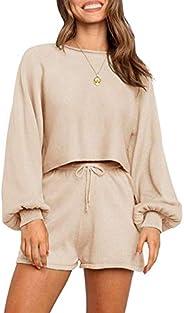 SYZRI Women's 2 Piece Knit Outfits Puff Sleeve Crop Top Shorts Set Sweater Sweat
