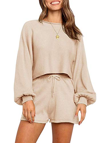 SYZRI Women's 2 Piece Knit Outfits Puff Sleeve Crop Top Shorts Set Sweater Sweatsuit