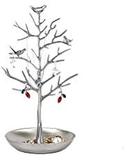 KUKI SHOP Tree Jewelry Stand Rack Metal for Earrings Rings Necklaces Bracelets Holder Tower Organizer Display Hanger Stand Rack with Plate for Accessories, Silver