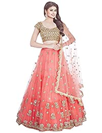 Indian Clothing Store Bhurakhiya Women's Embroidery Colour Orange Semi Stitched Lehenga Choli (Semi Stitched_Free Size)