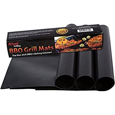 BBQ Grill Mats - For Grilling or Baking - (Set of 3 Mats) 100% Non Stick and Heavy Duty -.Great For The Barbeque Or Oven - Easy To Clean By Royal Grilling