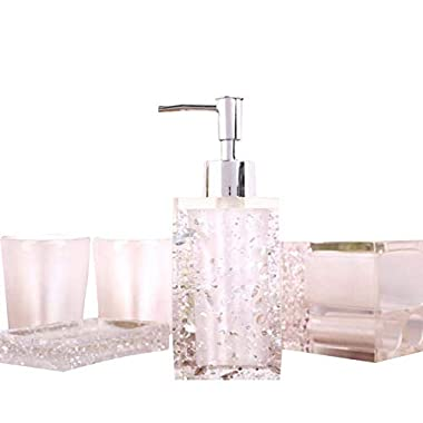 NarwalDate 5 Pieces Bathroom Accessory Set, Upgraded Version Acrylic with Crystal, Including Toothbrush Holders,Gargle Tooth-Brushing Tumbler,Soap Dishes,Soap & Lotion Dispenser Pump(White)