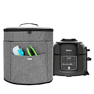 Luxja Pressure Cooker Cover Compatible with 8 Quart Ninja Foodi (with zippered section for lid), Dust Cover for Ninja Pressure Cooker (Wipeable Foil Lining), Gray