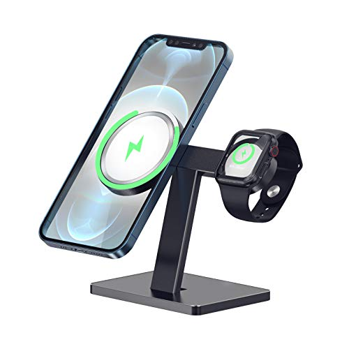 EWA 2 in 1 Wireless Charger Stand Compatible with Magsafe Charger and Apple Watch Charger, Charger Holder Compatible with iPhone 12/12 Pro/12 Pro Max/12 Mini and Apple Watch Series (Not Include the Charger)