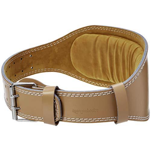AmazonBasics 6 Inch Wide Padded Weight Lifting Belt (Large, Tan)