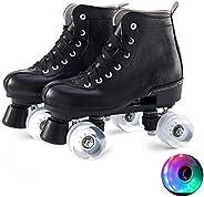 Roller Skates PU Leather High-top Roller Skates Four-Wheel Roller Skates Double Row Shiny Roller Skates Adult