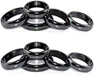 Hematite Rings for Women Men Unisex, Magnetic Hematite Magnet Ring-6T Curved Surface for Jewelry