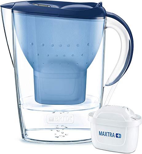 BRITA Marella – Jarra de Agua Filtrada con 1 cartucho MAXTRA+ – Filtro de agua BRITA de color azul que reduce la cal y el cloro – Agua filtrada para un sabor excelente
