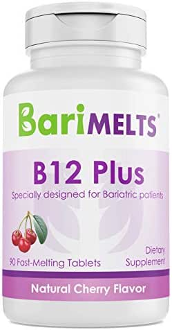 BariMelts B12 Plus, Dissolvable Bariatric Vitamins, Natural Cherry Flavor, 90 Fast Melting Tablets
