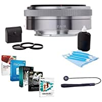 Sony 16mm F/2.8 E-mount NEX Camera Lens - Bundle with 49mm Filter Kit (UV/CPL/ND2), Cleaning Kit, Lenscap Leash, Pro Software Package
