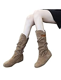 Woman knee High Boots Flat Heel Nubuck Motorcycle Boot Autumn Winter Shoes by XILALU