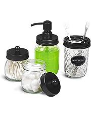 Mason Jars Bathroom Set Black Apothecary Jars Toothbrush Holder Soap Dispenser Farmhouse Rustic Decor 4 Pcs