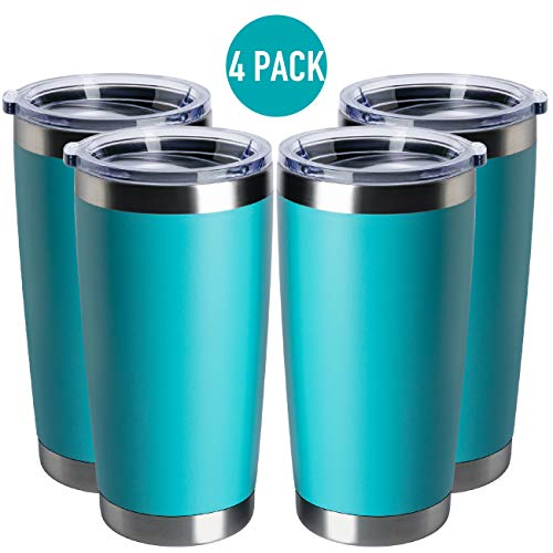 TDYDDYU 20 OZ Double Wall Stainless Steel Vacuum Insulated Tumbler Coffee Travel Mug With Lid, Durable Powder Coated Insulated Coffee Cup for Cold & Hot Drinks (light green, 4pack)