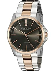 Kenneth Cole New York Mens Diamond Rock Out Quartz Stainless Steel Dress Watch, Color:Two Tone (Model: 10027880)