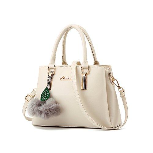 Women's Designer Top Handle Handbag Tote Crossbody Bag Pu Faux Leather Purse (Beige) Beige Medium Tote Handbag