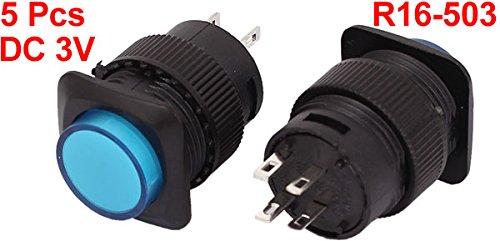 sourcingmap DC 3V Blue LED Light SPST NO 4-Pin 16mm Thread Push Button Switch 5pcs