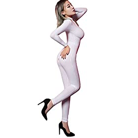 - 41Q  2BoYQLVL - Kingmistres Sexy Bridal White Front Zip Vertical Stripes Spandex Zentai Catsuit Bodysuit Night Club Costume