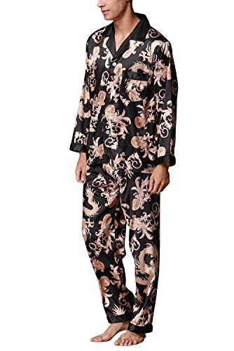 Qk Manica Accogliente Top Uomo Schwarz Momme Sleepwear Pantaloni Leggero Due Pezzi Lunga Primavera Lungo Da lannister Autunno Pigiama 1qC8w1r