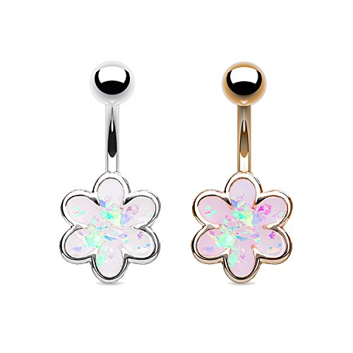 Colorful Opal Ring - MoBody 2 Piece Created Opal Flower 14G Belly Button Navel Rings Set 316L Surgical Steel Piercing Barbell