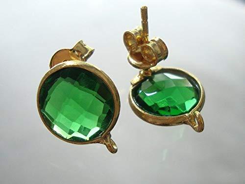 Beautiful Emerald Green Quartz Faceted 11mm Coin Briolette, 22K Vermeil Bezel Rim, Jolie Earrings Post, 2 pcs, Sale 25% -01 ()