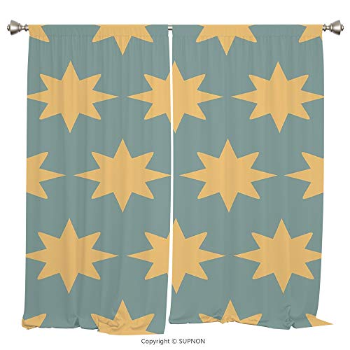 Rod Pocket Curtain Panel Thermal Insulated Blackout Curtains for Bedroom Living Room Dorm Kitchen Cafe/2 Curtain Panels/108 x 90 Inch/Modern,The Starry Night Pattern in Conceptual Artwork Style with R - Rose Prairie Cup