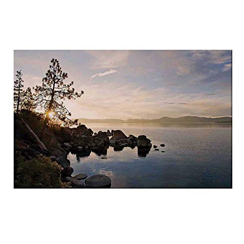 - YOLIYANA Lake Durable Door Mat,Lake Tahoe at Sunset with Clear Sky and Single Pine Tree Rest Peaceful Weekend Photo for Home Office,19.6