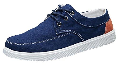 Idifu Mens Confortable Lacets Coupe-bas Respirant Skateboard Chaussures Baskets Bleu Foncé
