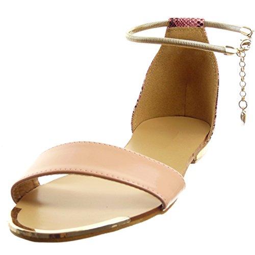 Blocco Snakeskin Centimetro Sandalo Modo Caviglia Brevetto Di Rosa Aperti Sopily Tallone Altezza Lucido Del Pattino 1 Donne 7w7Oq4Z