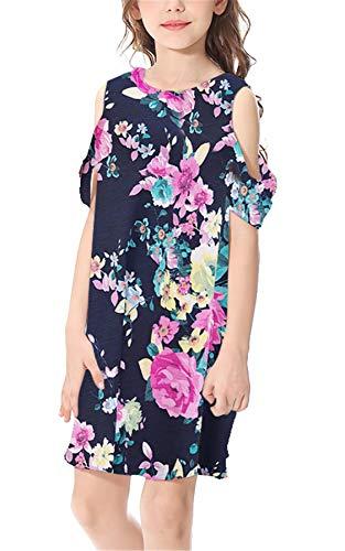 Girls Summer Floral Dresses Hawaiian Casual Dress Cold Shoulder Casual Dress Navy XL - Old Navy Sundress