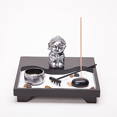 Asian Japanese Feng Shui Sand Zen Garden Buddha Incense & Ca